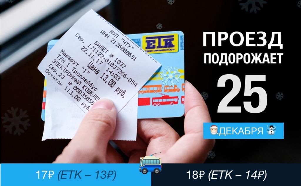 С 25 декабря в чебоксарских троллейбусах повысят стоимость проезда